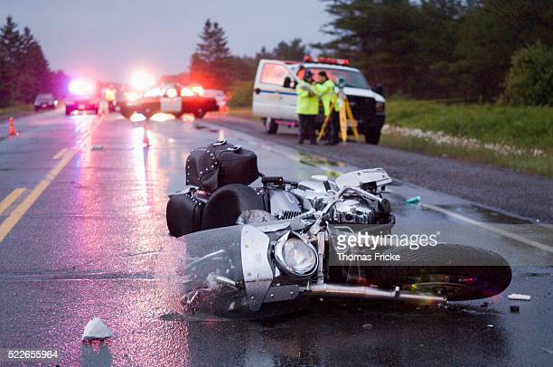 motorcycle accident on trans canada highway - motorcycle accident stock pictures, royalty-free photos & images