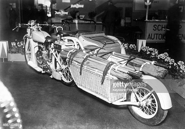 Motorcycle and side car with luggage rack at Berlin Auto Show in 1928 in Berlin Germany