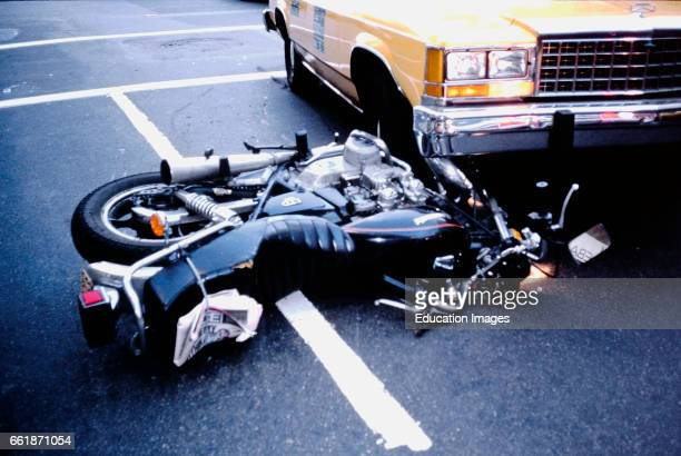 Motorcycle and Taxi Accident, NYC.