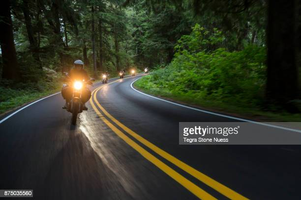 Motorcycle club on country road