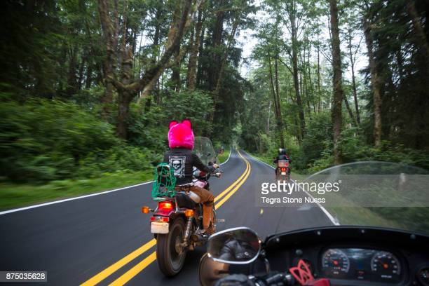 motorcycle club on highway 101 - double yellow line stock photos and pictures