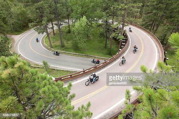 motorcycle corkscrew road trip - black hills stock pictures, royalty-free photos & images