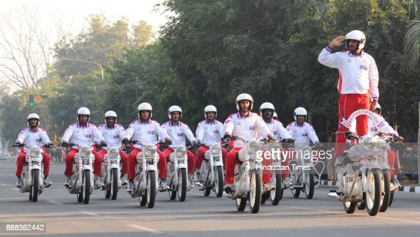 Motorcycle Daredevil Team of the Indian Army displaying their skills during the Military Literature Festival 2017 at Uttar Marg near Sukhna Lake on...
