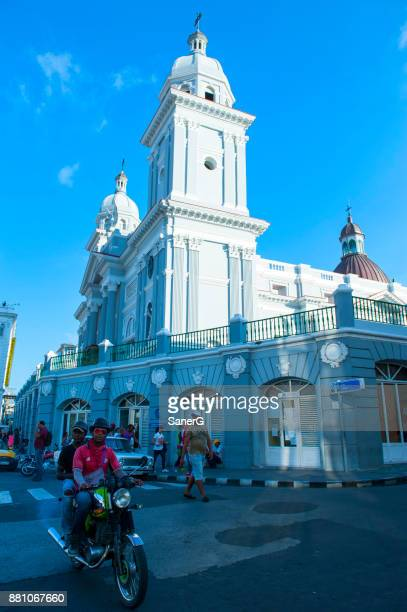 motorcycle in front of metropolitan cathedral - asuncion stock photos and pictures