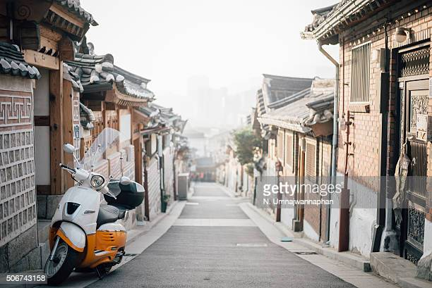 Motorcycle in the Bukchon Hanok village in the morning