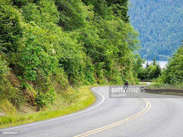 Motorcycle on Curvy Rural Washington State Road Port Angeles