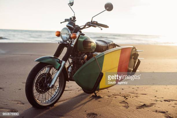 Motorcycle on tropical beach