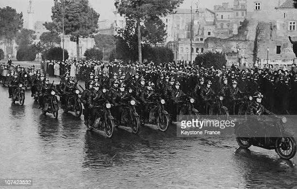 Motorcycle Parade At Instituto Luce In Rome On January 1940