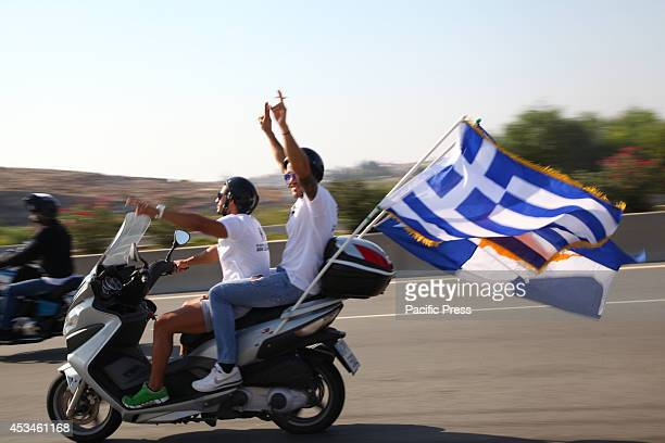A motorcycle procession at the free area Famagusta during Tasos Isaak and Solomos Solomou Memorial Day A motorcycle parade started from the Paralimni...