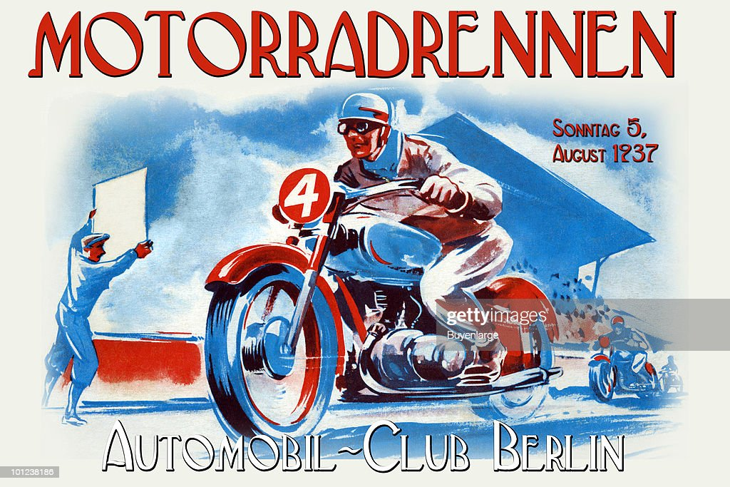 A motorcycle race poster designed to emulate race posters from the 1930's in Germany.