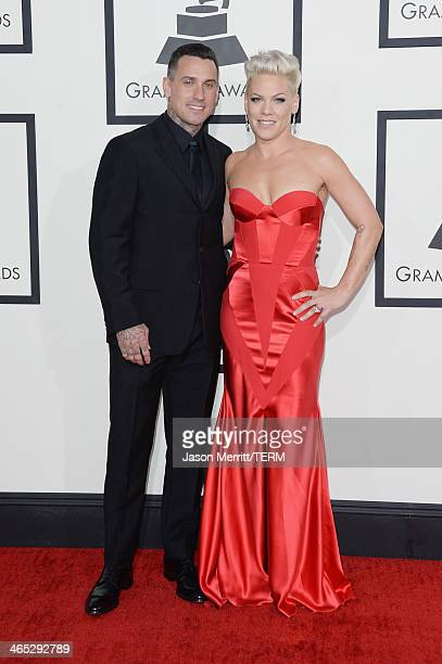 Motorcycle racer Carey Hart and singer Pink attend the 56th GRAMMY Awards at Staples Center on January 26 2014 in Los Angeles California
