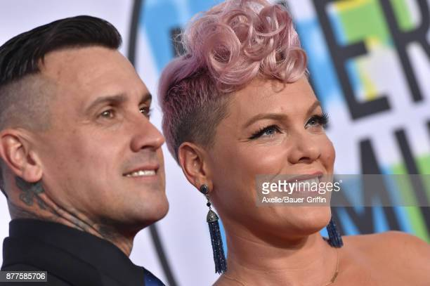 Motorcycle racer Carey Hart and singer/songwriter Pink arrive at the 2017 American Music Awards at Microsoft Theater on November 19 2017 in Los...