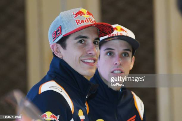 Motorcycle racer Marc Marquez and Alex Marquez prepare for a fan meeting and the launch of Repsol oil products in Jakarta, on February, 5.2020. After...