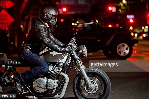 Motorcycle Rider at Night