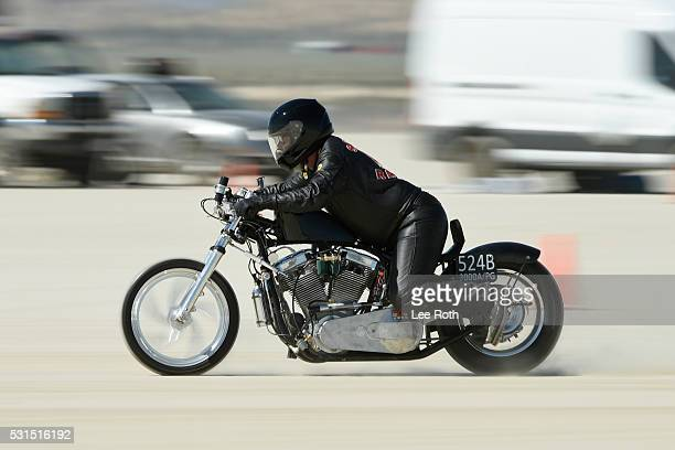 A motorcycle rider on his run of 154941 mph at SCTA Southern California Timing Association's Land Speed Races 2016 Season Opening Day at El Mirage...