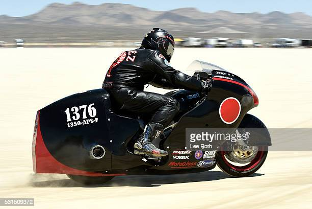 A motorcycle rider on his run of 191781 mph at SCTA Southern California Timing Association's Land Speed Races 2016 Season Opening Day at El Mirage...