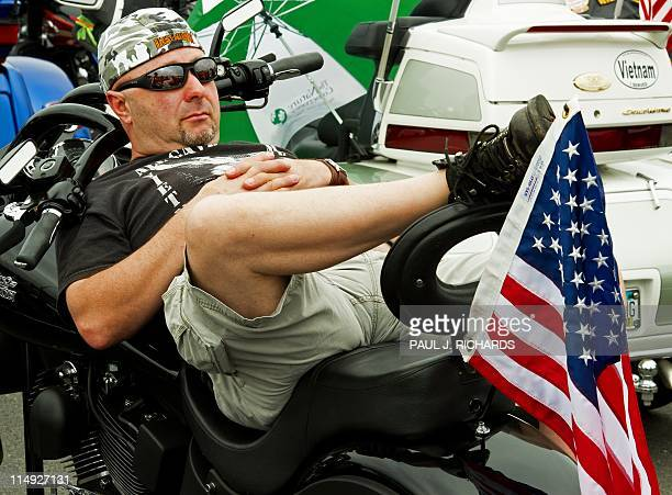 A motorcycle rider participating in the May 29 2011 Rolling Thunder motorcycle ride from the Pentagon through Washington DC in support of US troops...