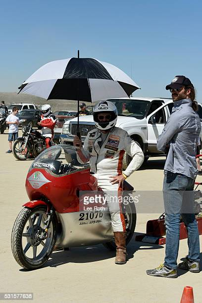 A motorcycle rider prepares for his run of 119166 mph at SCTA Southern California Timing Association's Land Speed Races 2016 Season Opening Day at El...