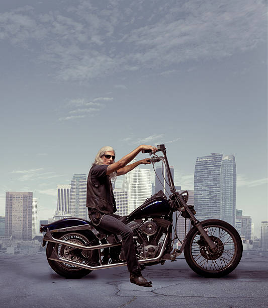 Motorcycle Rider with City Background