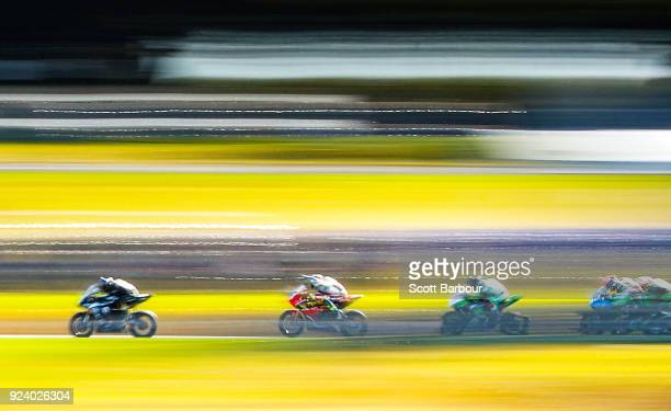 Motorcycle riders compete in the YMF Australian Superbike Championship Round One Race 3 ahead of the 2018 Superbikes at the Phillip Island Grand Prix...