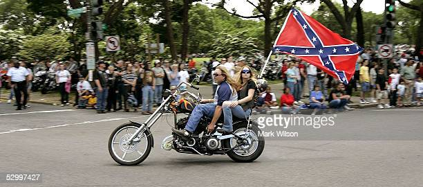 Motorcycle riders participating in Rolling Thunder display a Confederate Flag May 29 2005 in Washington DC Since 1988 hundreds of thousands of...