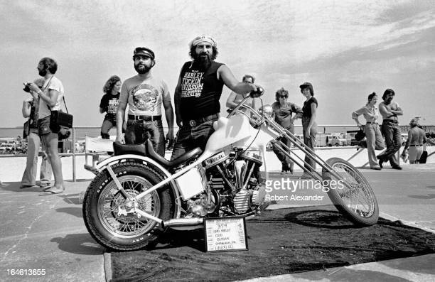 Motorcycle riders show off their customized 1949 HarleyDavidson during the annual Bike Week festivities in Daytona Beach Florida...