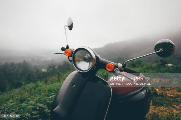 motorcycle scooter on mountain.