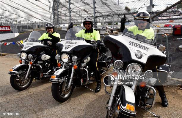 Motorcycle Sheriff officers on duty during the First Data 500 NASCAR playoff race on October 2017 at Martinsville Speedway in Martinsville VA