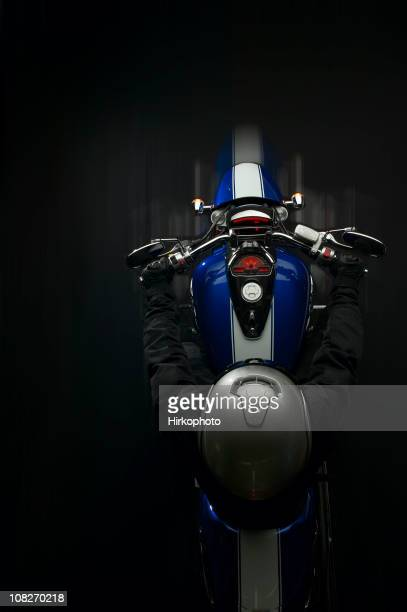 Motorcycle shot from above with motion blur