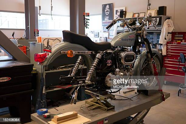 A motorcycle stands in a workshop inside the Harley Davidson Musueum on June 13 2012 in Milwaukee Wisconsin