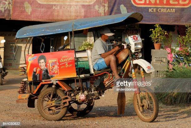 motorcycle taxi in the countryside in thailand - poor service delivery stock pictures, royalty-free photos & images