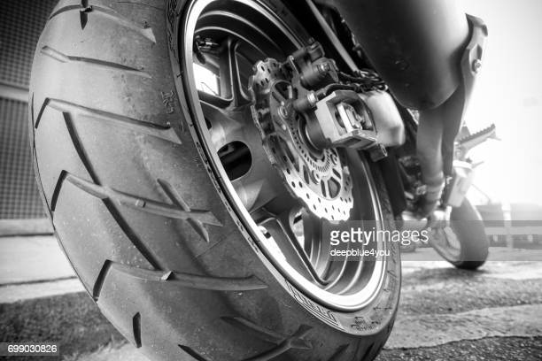motorcycle tire and break system - motorcycle stock photos and pictures