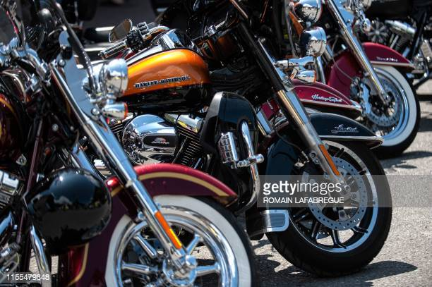 This picture taken on July 13 2019 shows HarleyDavidson motorbikes displayed during the seventh edition of the annual Morzine Harley Days festival in...