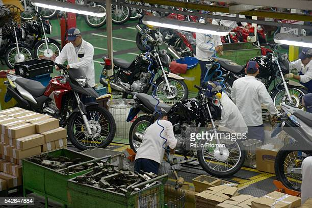 Motorcycles are packed to be shipped at Honda Plant, Manaus, Brazil on Wednesday April 9th, 2014