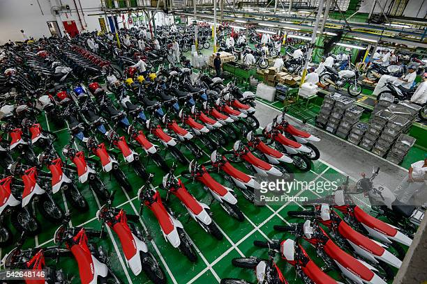 Motorcycles are packed to be shipped at Honda Plant Manaus Brazil on Wednesday April 9th 2014