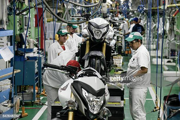 Motorcycles assembly line at Honda Plant, Manaus, Brazil on Wednesday April 9th, 2014