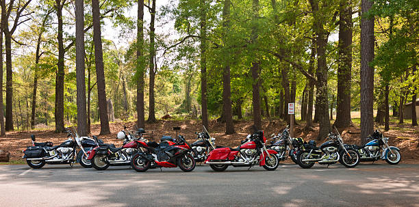 motorcycles lined up - harley davidson stock pictures, royalty-free photos & images