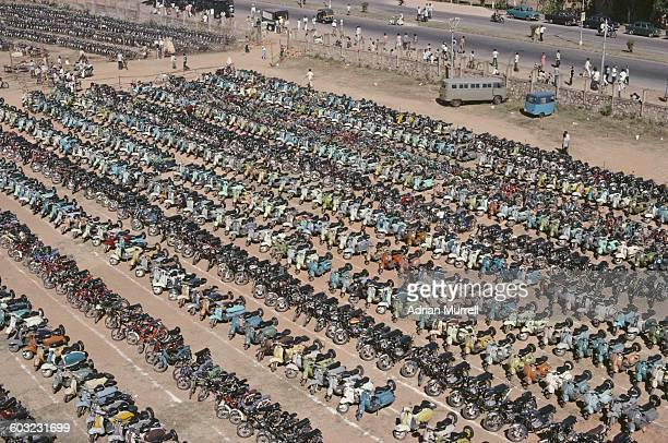 MotorcyclesVespa scooters and bicycles parked outside the ground for the 2nd Test between India and England on 9 December 1981 at Karnataka State...