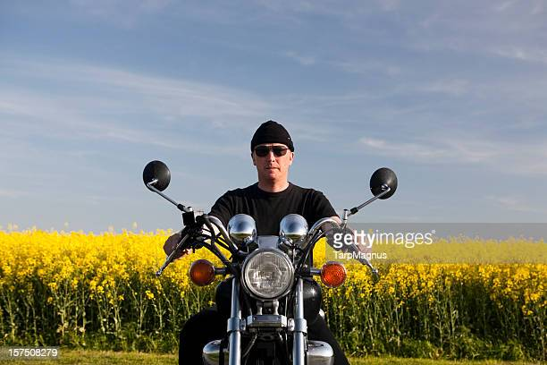 Motorcyclist and blue sky