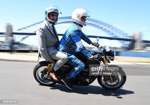 A motorcyclist and his passenger pass the Harbour Bridge during a charity ride on September 30 2018 in Sydney Australia The Distinguished Gentleman's...