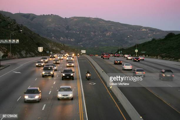 A motorcyclist drives in the High Occupancy Vehicle lane also called the diamond or commuter lane on the 118 or Ronald Reagan Freeway on February 3...