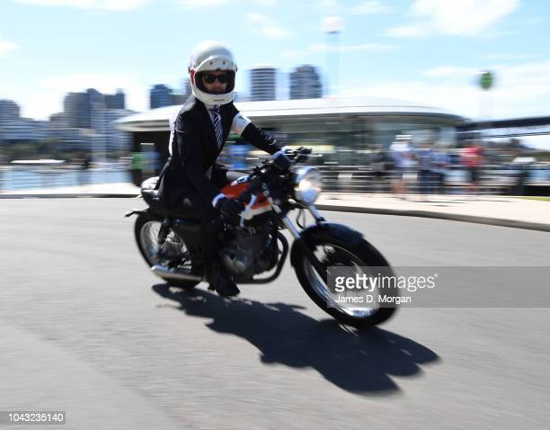 A motorcyclist during a charity ride on September 30 2018 in Sydney Australia The Distinguished Gentleman's Ride is an annual event held around the...