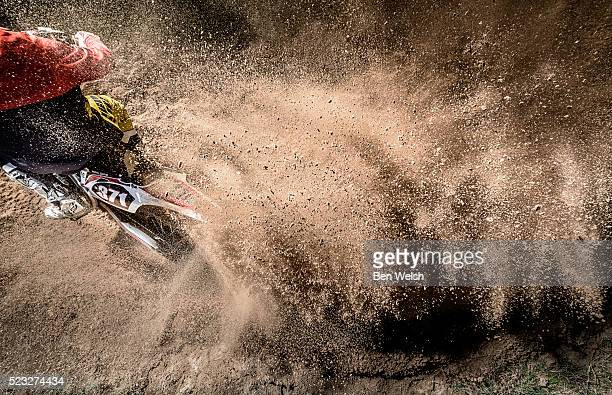 motorcyclist in action from bird's eye perspective - motorcycle racing stock pictures, royalty-free photos & images