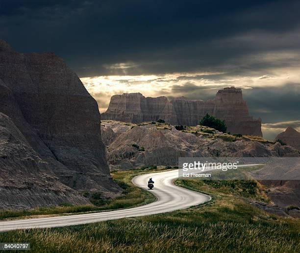 Motorcyclist in Badlands National Park