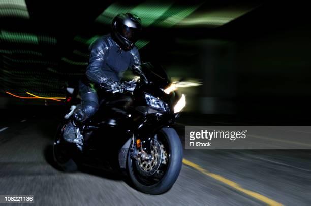 Motorcyclist in Tunnel, Motion Blur