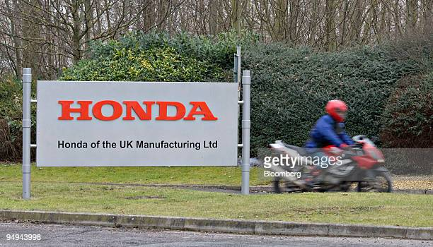 A motorcyclist leaves the Honda Motor Co car production plant at the end of a shift in Swindon UK on Friday Jan 30 2009 Honda the world's largest...