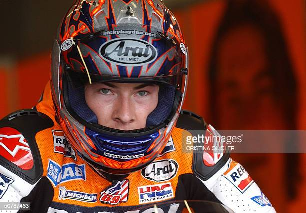 GP motorcyclist Nicky Hayden prpeares during training on the eve of the Grand Prix at Jerez circuit 30 April 2004 AFP Photo Cristina Quicler