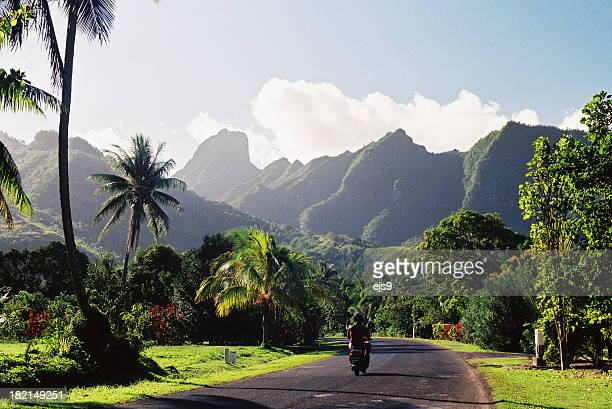Motorcyclist on Polynesian road