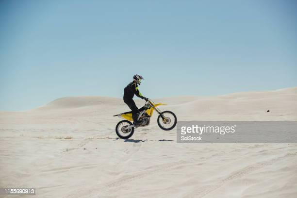 motorcyclist pulling a wheelie on the sand - biker jacket stock pictures, royalty-free photos & images