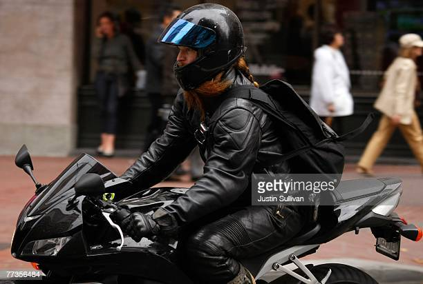A motorcyclist rides down Market Street October 16 2007 in San Francisco California Motorcycle deaths are on the rise in California with 433 deaths...